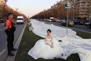 worlds longest wedding gown - emma wearing it